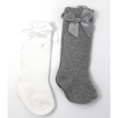 girls knee high bow socks