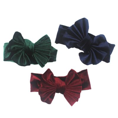 baby girls navy green red velvet large headbands
