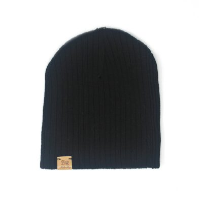 Black beanie with real fur pom pom girls boys