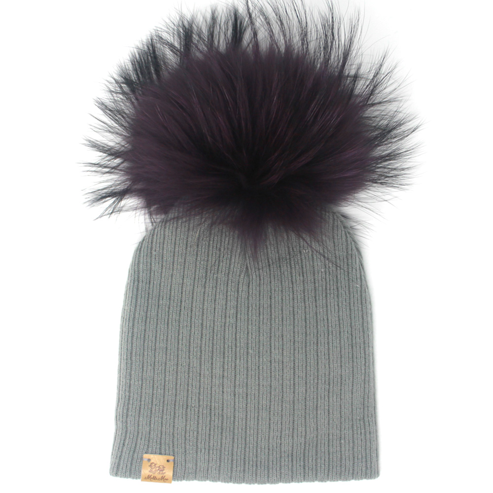 7735758c9f3 Create Your Own Winter Pompom Beanie Hat - Grey - MolliMoo