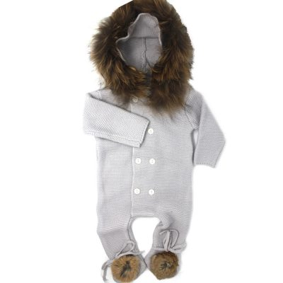 baby knitted real fur hood and pom pom bootie