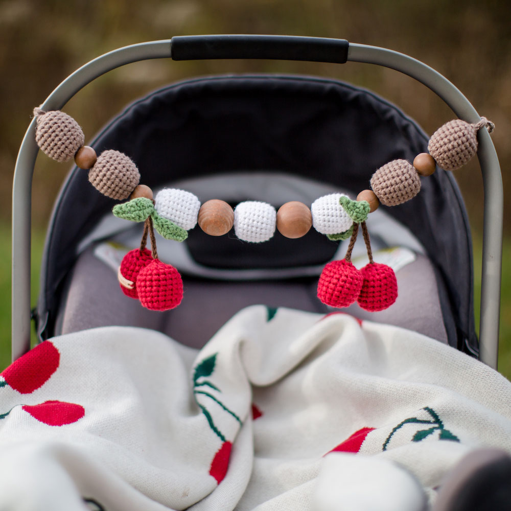 Beautiful Handmade Cherry Carseat Toy & Cherry Blanket Set