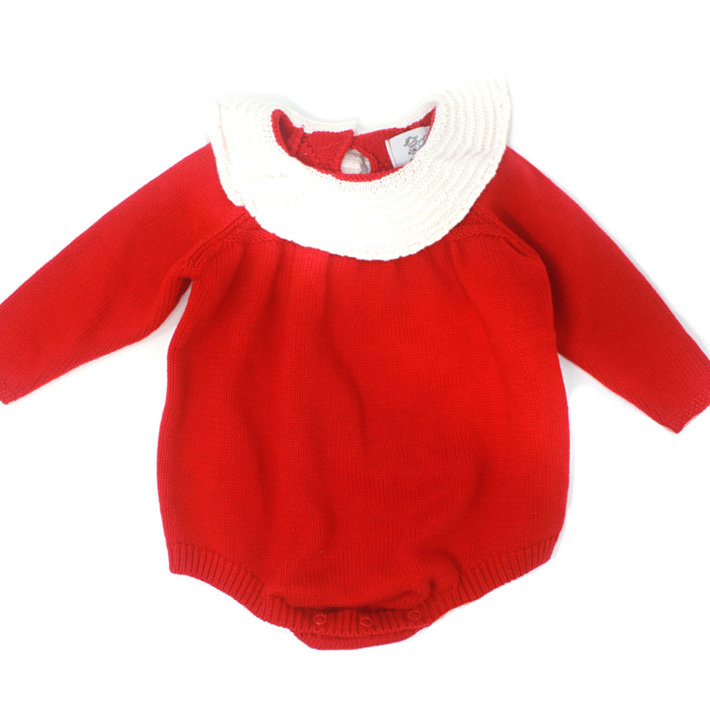 Knitted Red Ruffle Collar Bubble Romper
