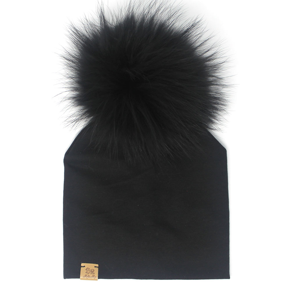 Fur Pompom Beanie Hat – Black