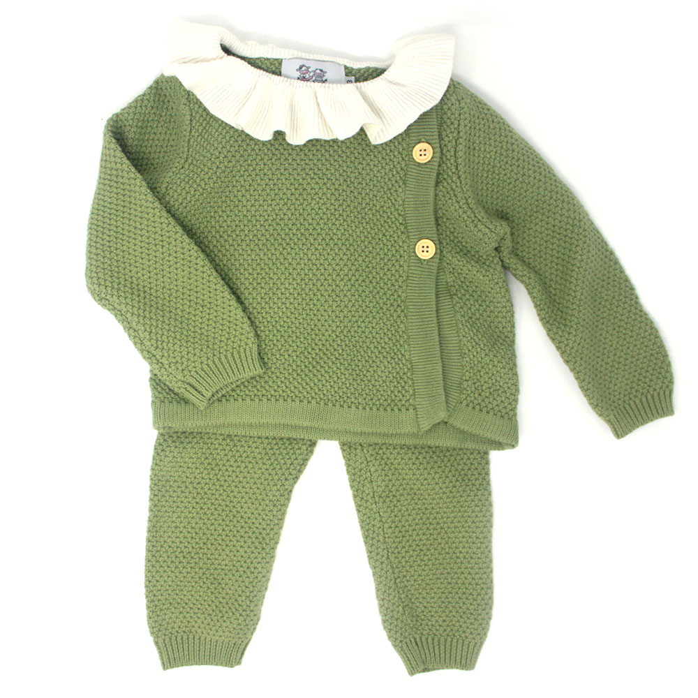 Baby Green Knitted Ruffle Sweater And Pant Set