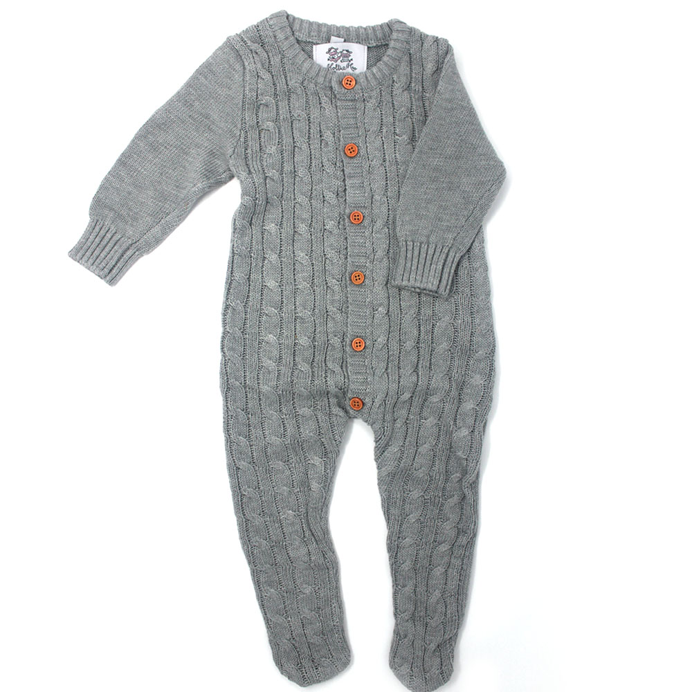 Baby Knitted Grey Footed Suit