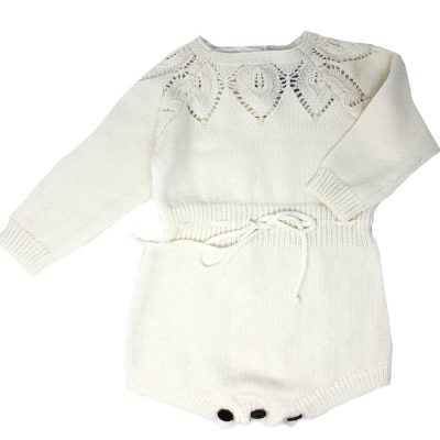 White knitted girls design romper