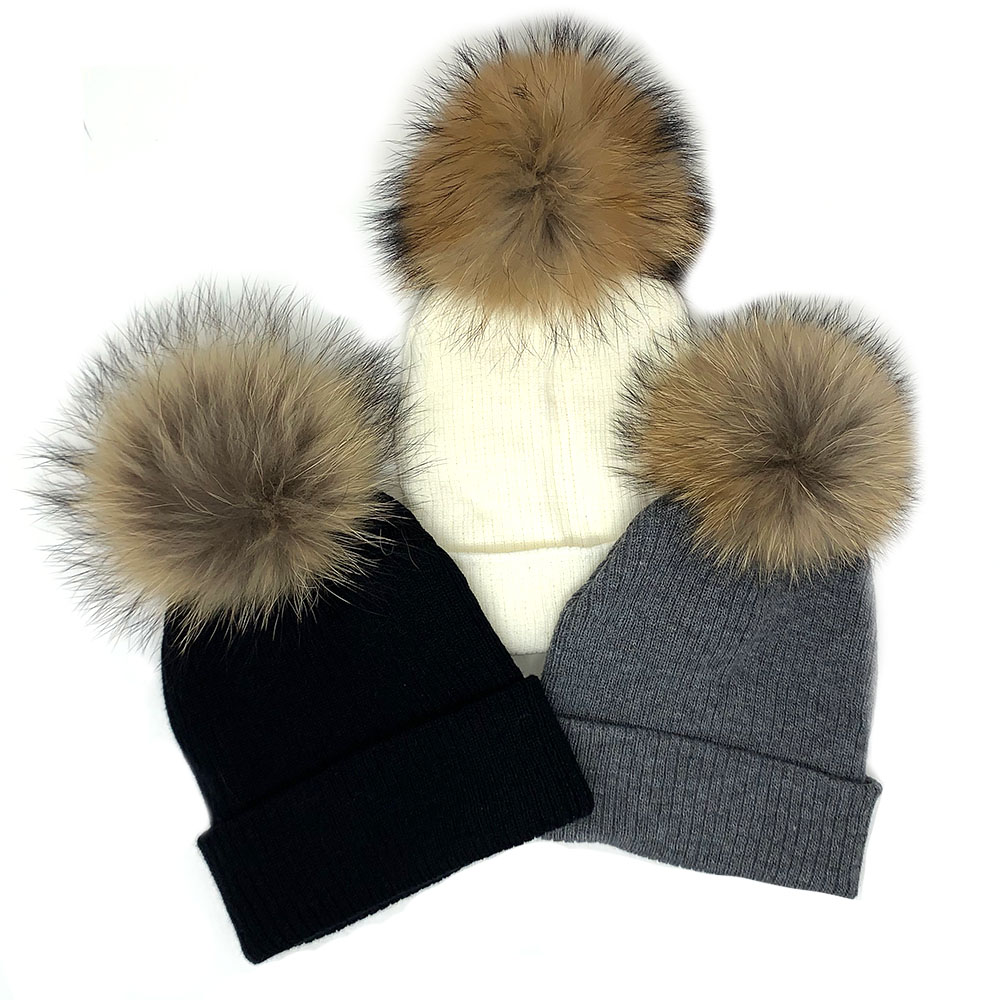 Children/ Adult Winter Fur Pompom Hat