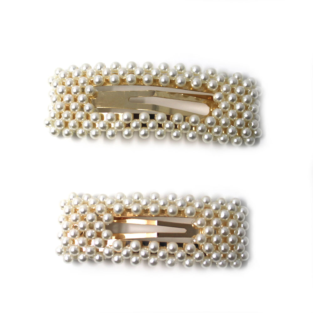 Girls Large/Small Rectangle Pearl Hair Clip