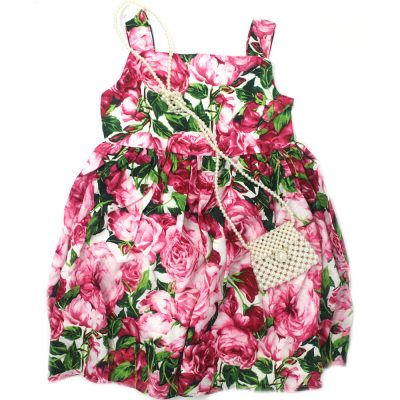 beautiful girls rose floral summer pink dress
