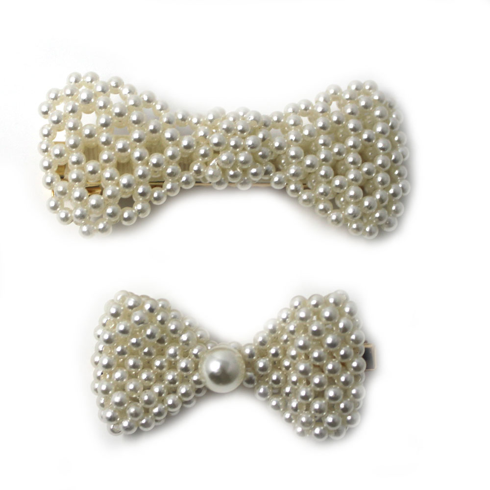 Beautiful Girls Pearl Bow Hair Clips