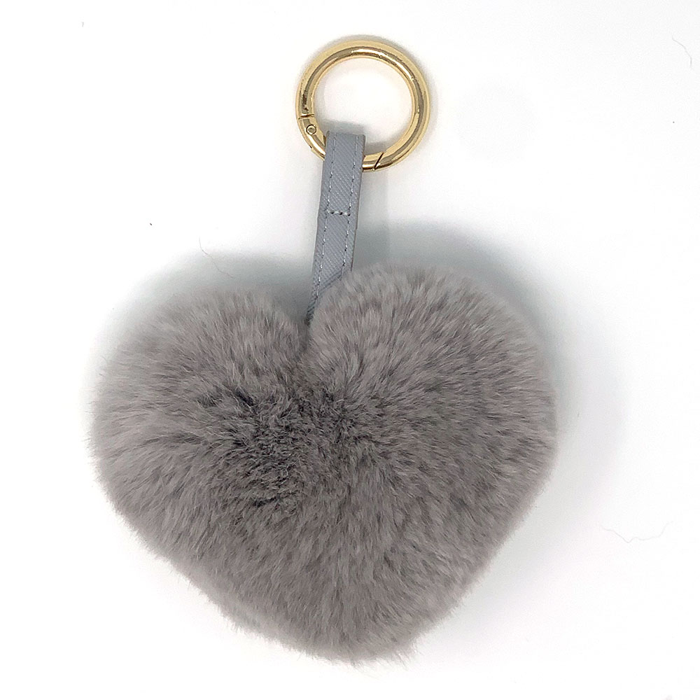 Adorable Grey Heart Shaped Fur Keychain