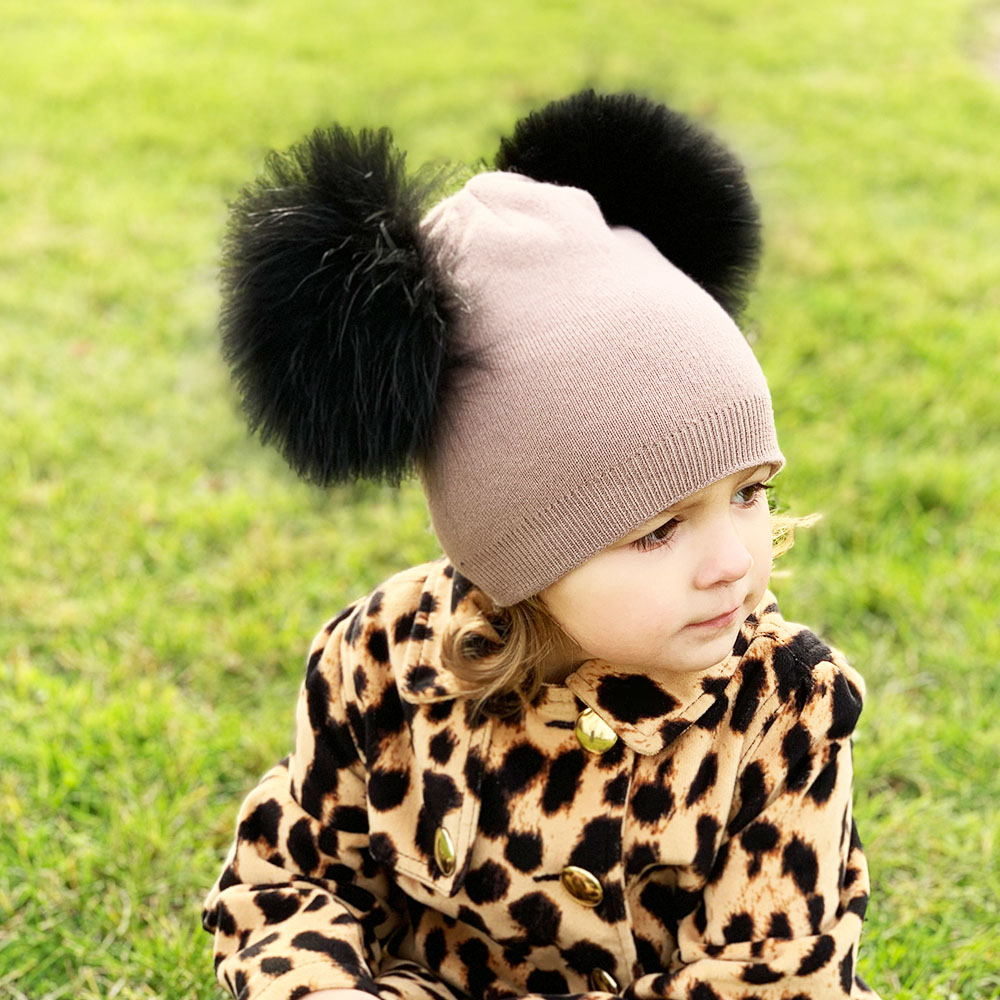 Kids Cashmere Double Pompom Hat