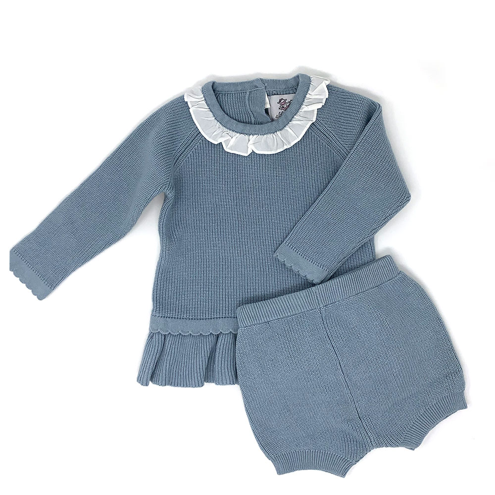 Knitted Baby Blue Sweater/ Short Set