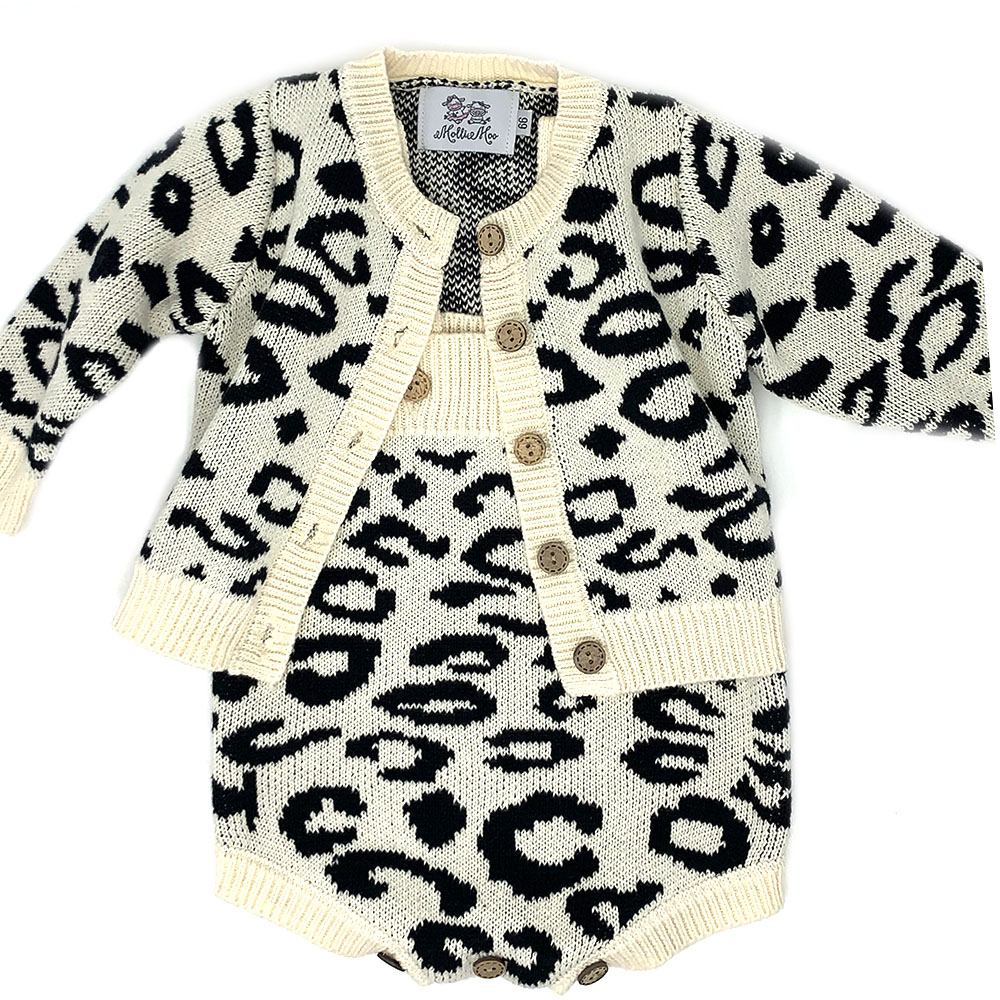 Beautiful Girls Leopard Romper/ Sweater Set